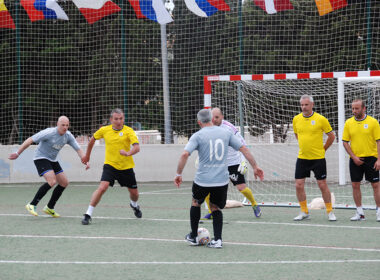 Walking football tournament Mallorca duel header